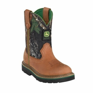 Johnny Popper Western Boots Boys John Deere Cowboy Tan Camo JD3188