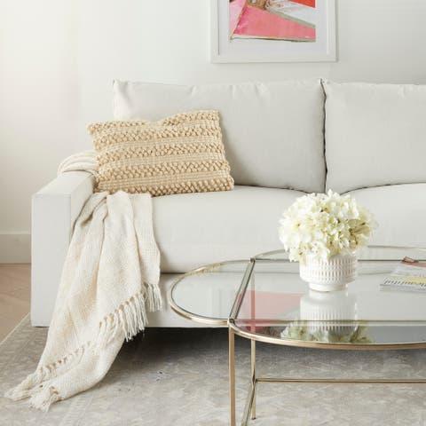Carson Carrington Tarnby Woven Stripes White Throw Pillow