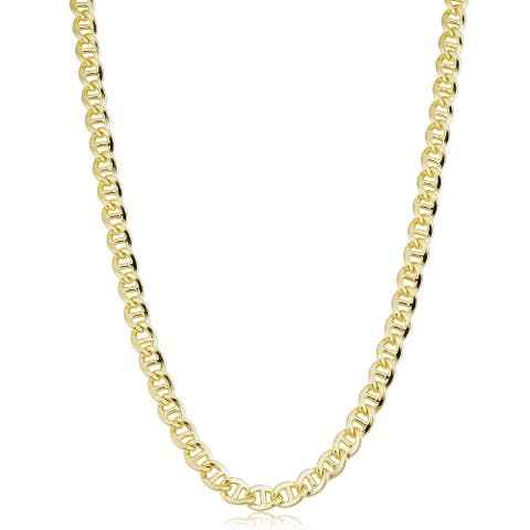 14k Yellow Gold Filled 6 millimeter Mariner Link Chain Necklace (16-36 inch)