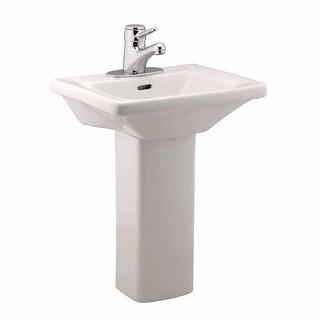 Children's White Pedestal Sink Vitreous China WeeWash 4 Centerset Open Back