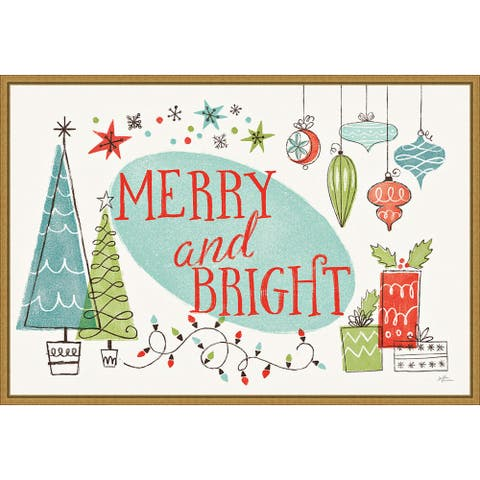 Merry and Bright Christmas Tree by Janelle Penner Framed Canvas Art