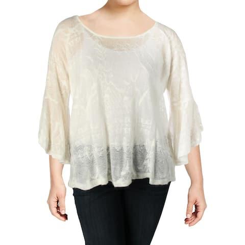 Jessica Simpson Womens Plus Hyne Pullover Sweater Sheer Split Back