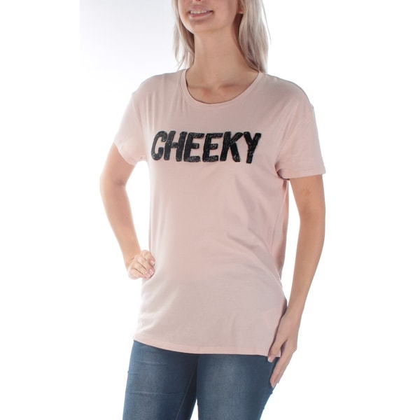 518ab0cde9c7 Shop GUESS Womens New 1182 Pink Cheeky Beaded Short Sleeve T-Shirt Top S  B+B - Free Shipping On Orders Over $45 - Overstock - 21273077