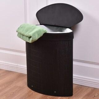 Costway Triangle Bamboo Hamper Laundry Basket Washing Cloth Storage Bin Bag W/Lid Black