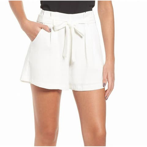 Leith Women's Tie-Waist White Size XXL Pleated Textured Casual Shorts