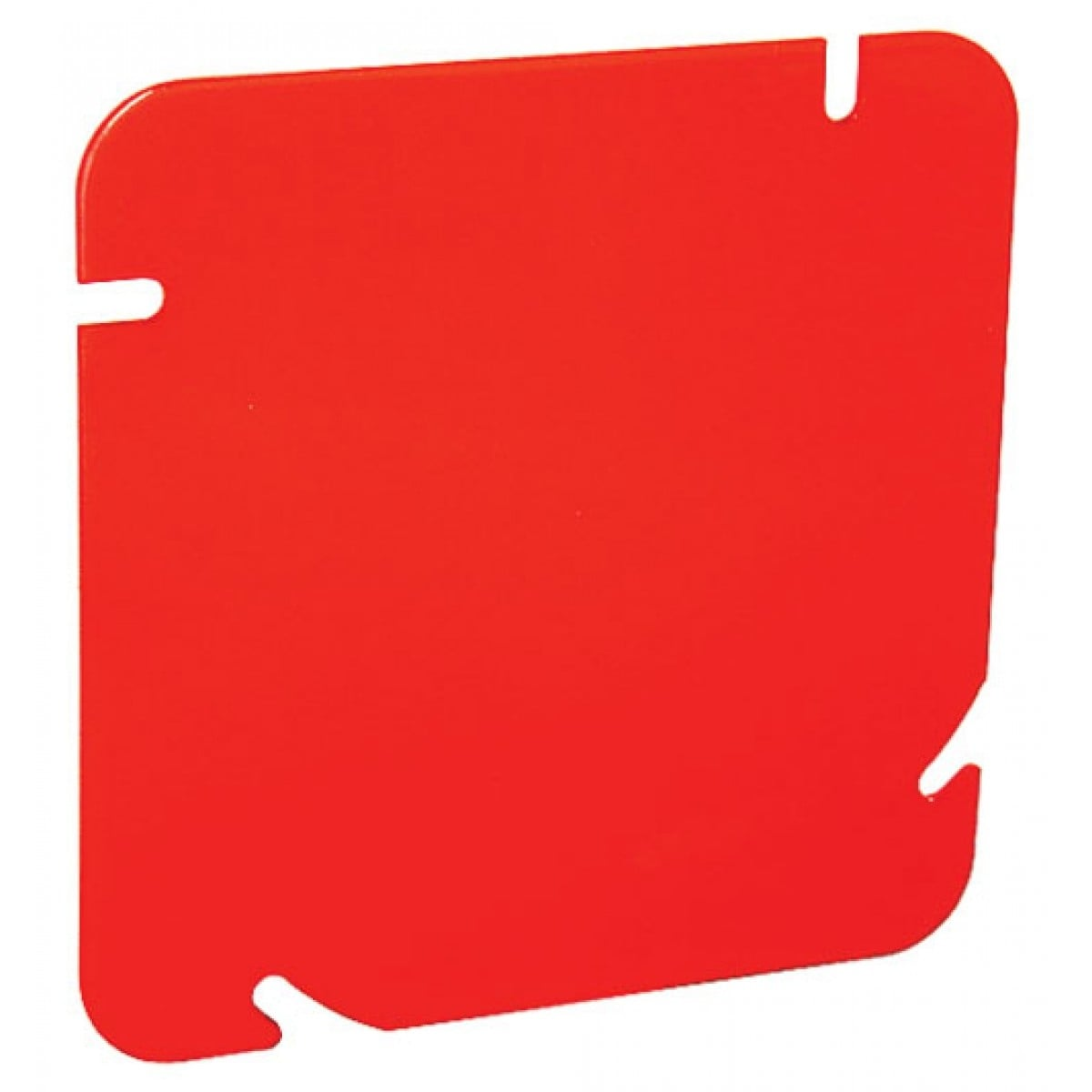 2 Pcs, 4-11/16 Red Blank Box Cover, Flat, Zinc Plated Steel Painted Red