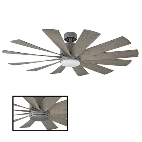 Windflower 60 Inch 12 Blade Indoor / Outdoor Smart Ceiling Fan with Six Speed DC Motor and LED Light.
