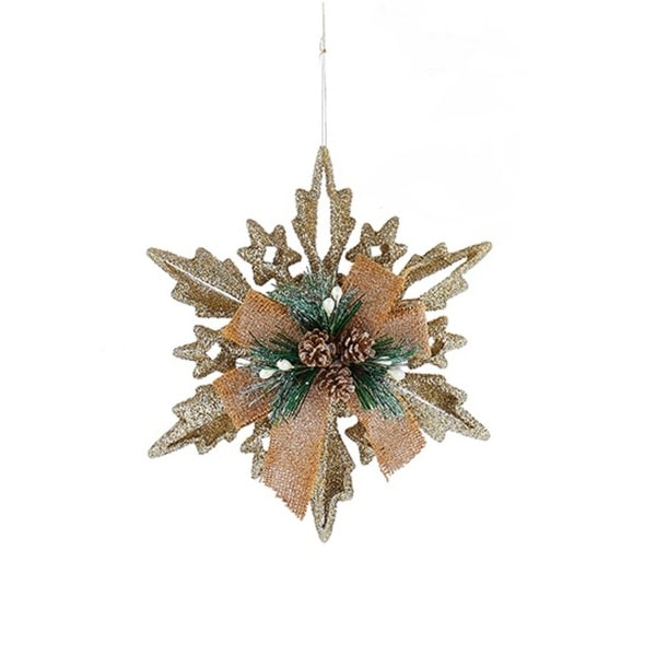 """8"""" Country Cabin Cut-Out Champagne Glitter Snowflake With Burlap Bow Christmas Ornament - brown"""