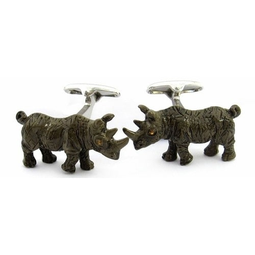 Painted Rhino Cufflinks Animal