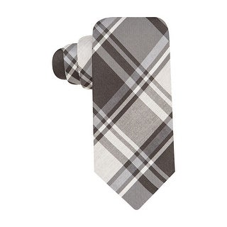 Alfani Spectrum Strip Plaid Classic Necktie Charcoal and Black Tie