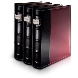 Bellagio-Italia Burgundy Leather CD/DVD Binder 3 pack