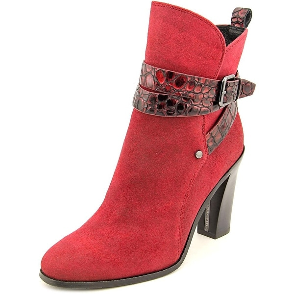 Donald J Pliner Oli Women Round Toe Suede Red Ankle Boot