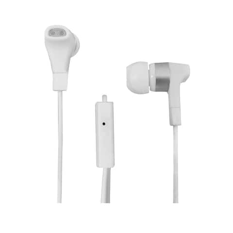 AmerTac PM1001SEW Zenith Stereo Earbuds With Microphone, White