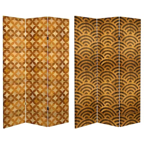 6 ft. Tall Double Sided Japanese Wood Pattern Canvas Room Divider