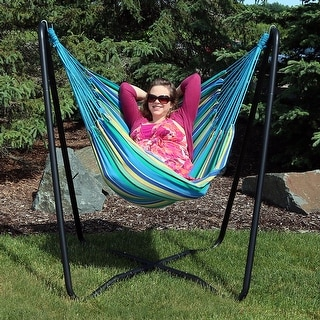Shop Sunnydaze Hanging Hammock Chair Swing With Space Saving Stand   Color  Options   Free Shipping Today   Overstock.com   16635629