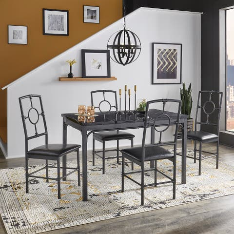 Roxanne Metal and Faux Marble 5-Piece Dinette Set by iNSPIRE Q Modern