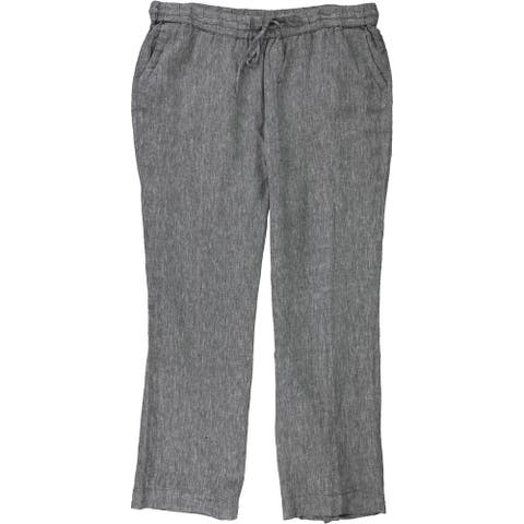 Charter Club Womens Linen Casual Lounge Pants, grey, 1X