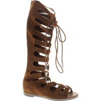 Breckelles Rita-71 Women Suede Gilly Tie Peep Toe Knee High Gladiator Sandal