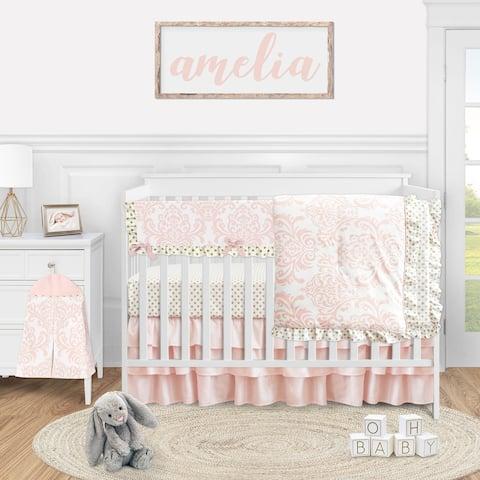 Blush Pink Damask Collection Girl 5-piece Nursery Crib Bedding Set - Gold and White Polka Dot Amelia