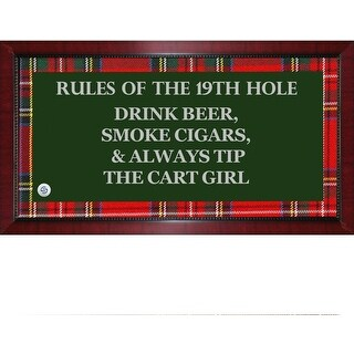 Rules of the 19th Hole Framed 95x19 Sign W Tartan Plaid Boarder Uns