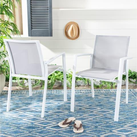 "SAFAVIEH Outdoor Living Negan Chair - Grey (Set of 2) - 22.8""x23.6""x33"""