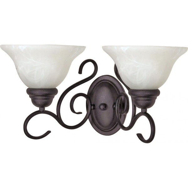 """Nuvo Lighting 60/388 Castillo 2-Light 17-1/4"""" Wide Bathroom Vanity Light with Frosted Glass Shades - Textured Black"""