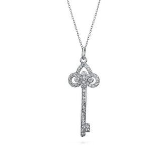 Bling Jewelry Fleur De Lis Key CZ Pendant Rhodium Plated Necklace 18 Inches