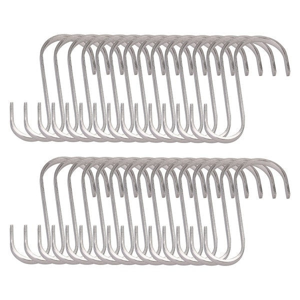 30pcs S Shape Hanging Hooks 304 Stainless Steel 90mm Coat Storage Hook Holder - 90x55mm