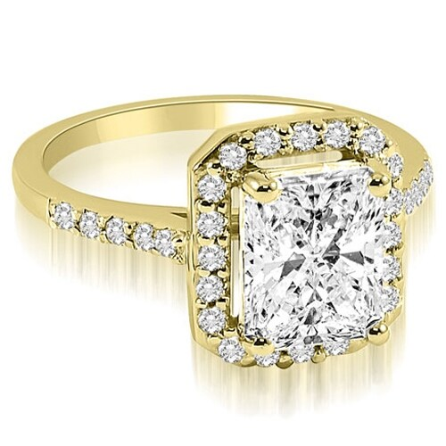 0.85 cttw. 14K Yellow Gold Emerald and Round cut Halo Diamond Engagement Ring