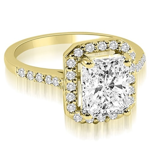 1.10 cttw. 14K Yellow Gold Emerald and Round cut Halo Diamond Engagement Ring