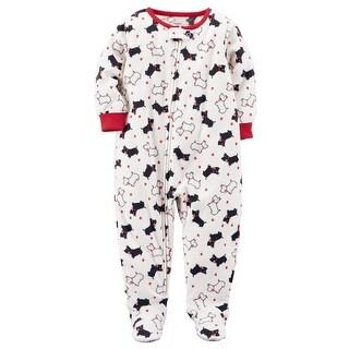 Carter's Little Girls' 1-Piece Dog Fleece PJs, 3-Toddler