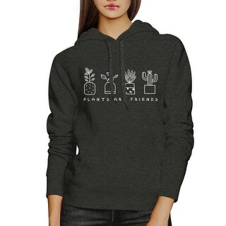 Plants Are Friends Unisex Dark Grey Cute Graphic Hoodie For Her