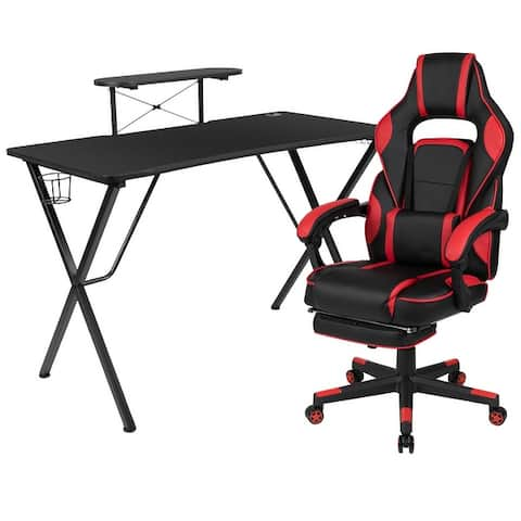 Gaming Bundle-Cup/Headphone Desk & Reclining Footrest Chair