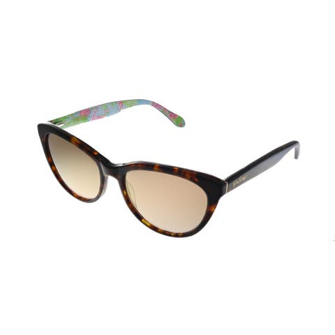 Lilly Pulitzer LP Havana TO Womens Tortoise Frame Gold Mirror Lens Sunglasses