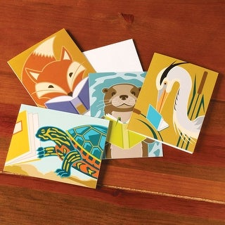 Vibrant Reading Animals Blank Greeting Cards - Set Of 4
