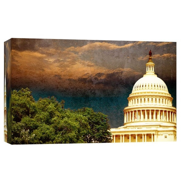 """PTM Images 9-101703 PTM Canvas Collection 8"""" x 10"""" - """"Capitol With Trees 2"""" Giclee Capitol Building Art Print on Canvas"""