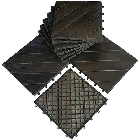 "Mcombo 10Pcs Patio Wood Deck Tiles 12""x12"",Outdoor Interlocking Deck Flooring Oiled Finish,Patio Paver Tiles 6083-WF01/02-BK/WD"