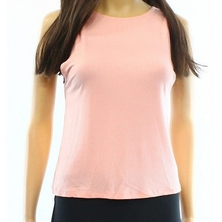 TopShop NEW Solid Pink Women's Size 12 Ribbed Knit Fitted Tank Top
