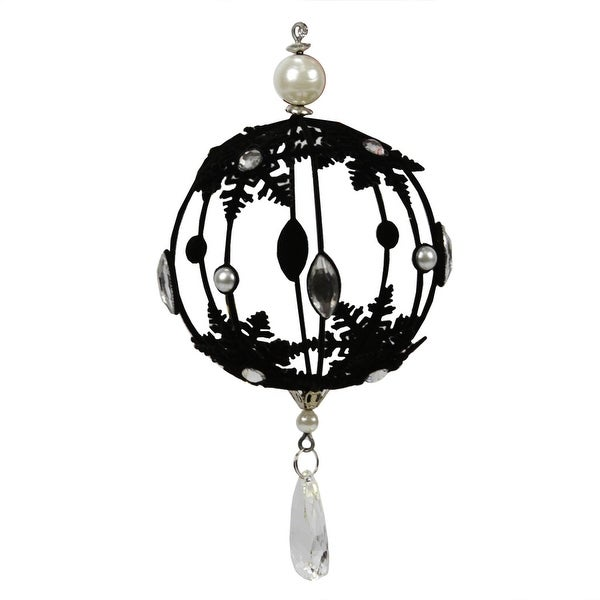 """11"""" Black Flocked Hollow Ball with Jewels and Silver Trim Christmas Ornament"""