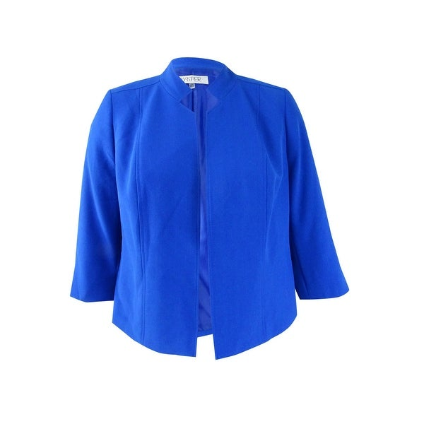 a8fdf4d0e85 Shop Kasper Women s Plus Size Stand-Collar Jacket - celeste blue - Free  Shipping On Orders Over  45 - Overstock.com - 21295279