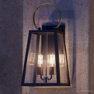 """Luxury Vintage Outdoor Wall Light, 23.625""""H x 11.25""""W, with Farmhouse Style Elements, Olde Bronze Finish by Urban Ambiance"""