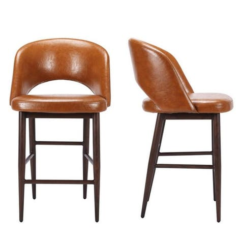 PU Leather Counter Stool with Metal Legs (Set of 2)