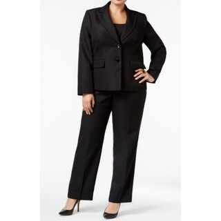 Le Suit NEW Black Womens Size 16W Plus Textured 2-Button Pant Suit Set