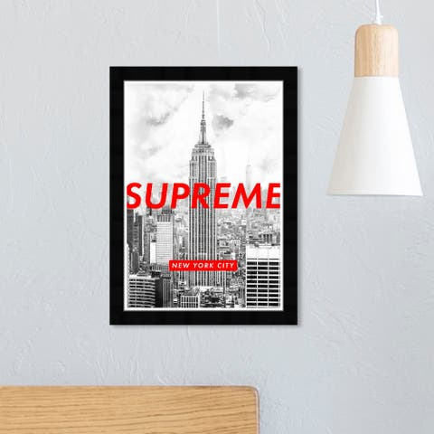 Wynwood Studio 'Urban New York City' Cities and Skylines Wall Art Framed Print United States Cities - Red, Gray