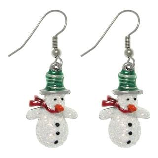 Pewter Glittery Snowman Dangle Earrings
