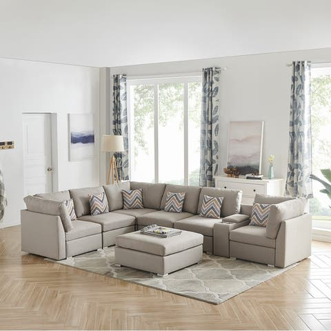 Amira Beige Fabric Reversible Modular Sectional Sofa with USB Console and Ottoman