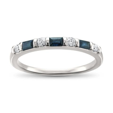 Montebello 14KT White Gold 1/3ct TDW Diamond and Blue Sapphire Wedding Band