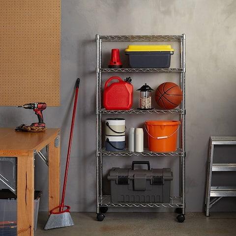 5 Tier Shelf Adjustable Wire Rolling Metal Shelving Rack Chrome