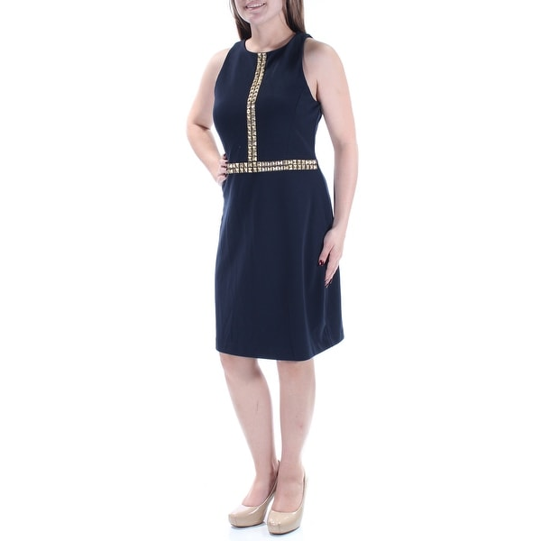 89ff851a60 Shop MICHAEL KORS  155 Womens New 1788 Navy Beaded Sleeveless Jewel Neck  Dress M B+B - Free Shipping On Orders Over  45 - Overstock - 21349257
