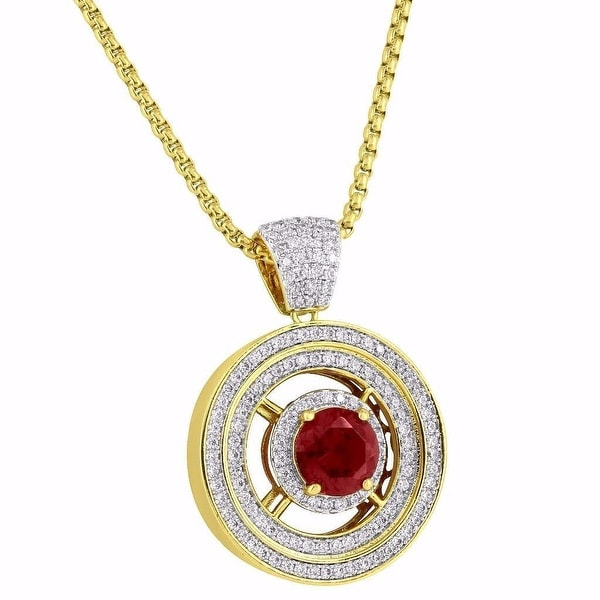 Red Ruby CZ Pendant Solitaire Round Charm 14k Gold Tone Lab Diamond Chain